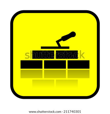 Bricklaying, construction sign - stock photo