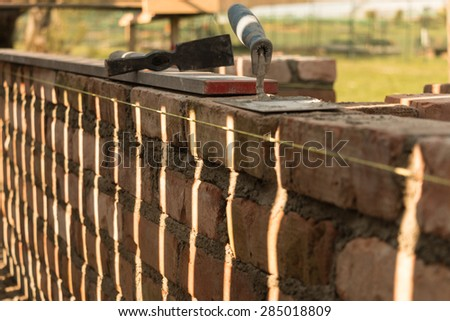 Bricklaying tools - stock photo