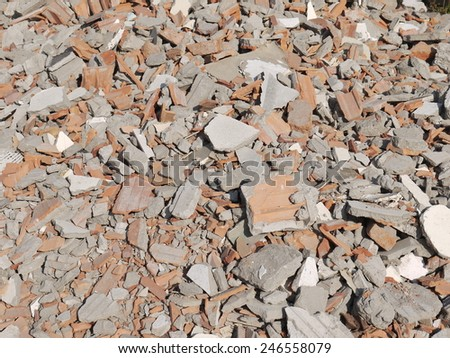 Bricks and other debris at a building site - stock photo