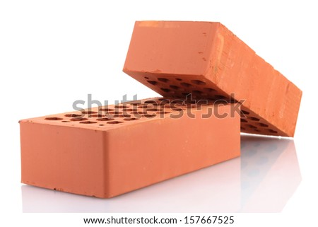 bricks, isolated on white - stock photo