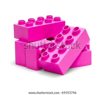 bricks isolated on white - stock photo