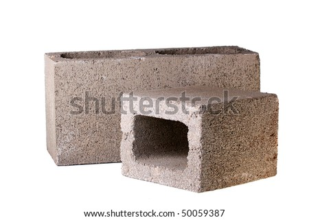 Bricks made of concrete for building of houses and fences.