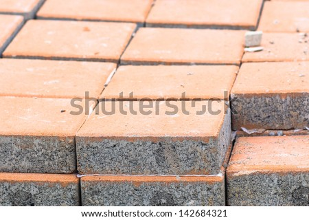 bricks on a construction site of footpath - stock photo