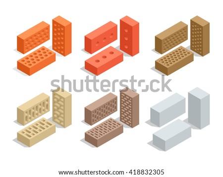 Bricks set. Brick 3d flat isometric illustration. - stock photo