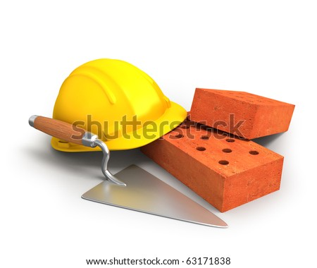 Bricks, trowel and a yellow plastic helmet - stock photo