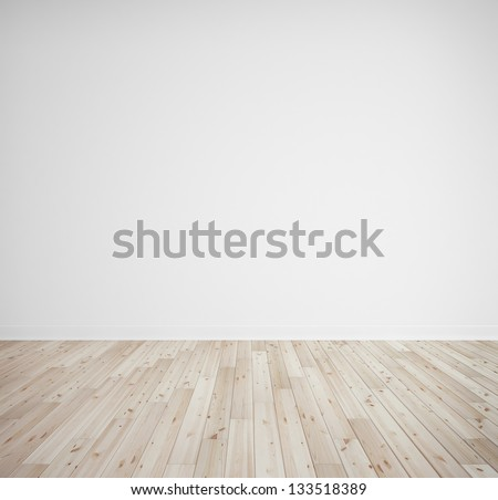 bricks wall and wooden floor - stock photo