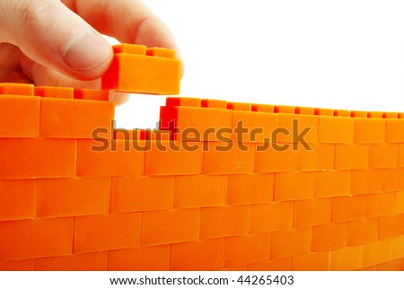 bricks  wall on a white background