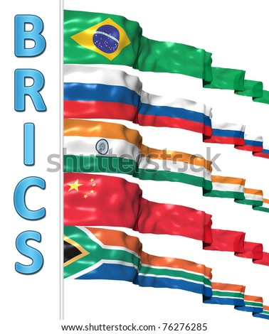 BRICS concept isolated on white - stock photo