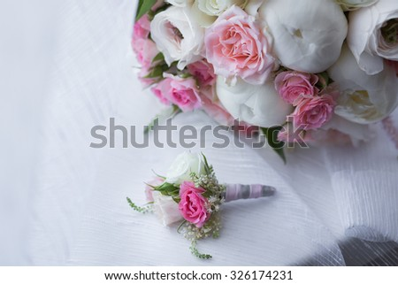 Bridal beautiful romantic bouquet of various flowers