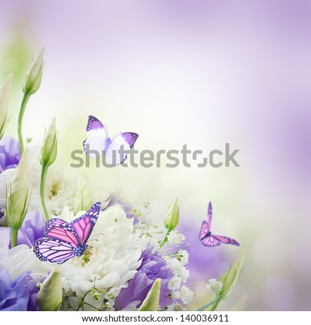 Bridal bouquet from white and pink flowers,  butterfly - stock photo