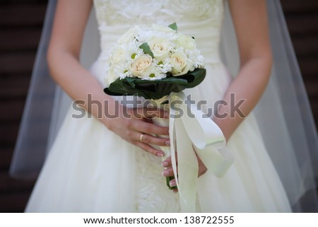 bridal bouquet from white roses