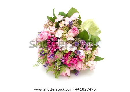 Bridal bouquet in bright colors with green handle isolated on white - stock photo