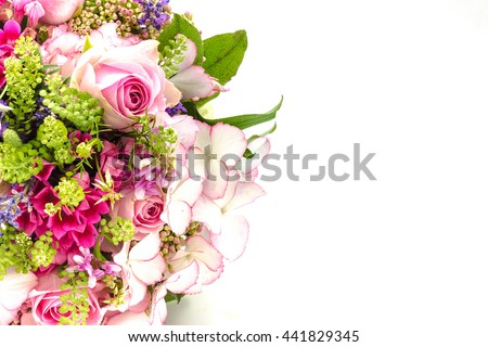 Bridal bouquet in bright colors with green handle isolated on white background - stock photo