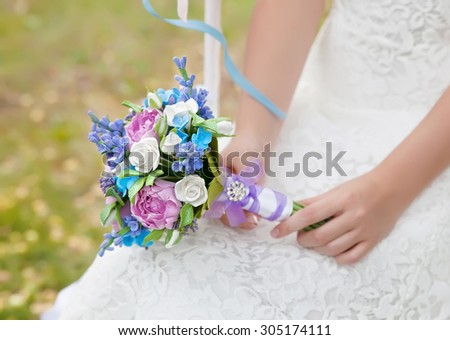 bridal bouquet made of polymer clay - stock photo