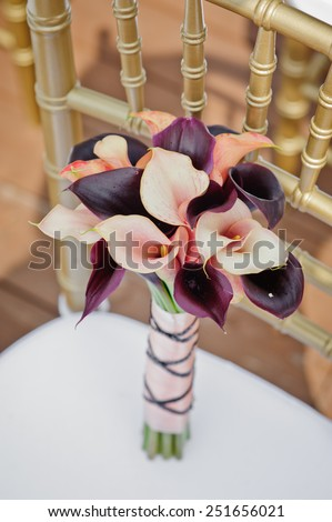 Bridal bouquet of  Calla lily - stock photo