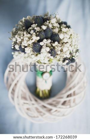 bridal bouquet of Gypsophila - stock photo