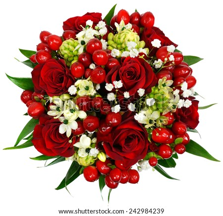 Bridal bouquet of red roses isolated on white - stock photo