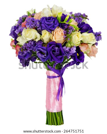 Bridal bouquet of roses isolated on white - stock photo