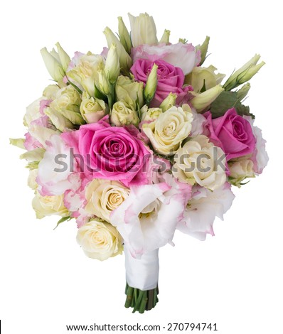 Bridal bouquet of white and pink roses - stock photo