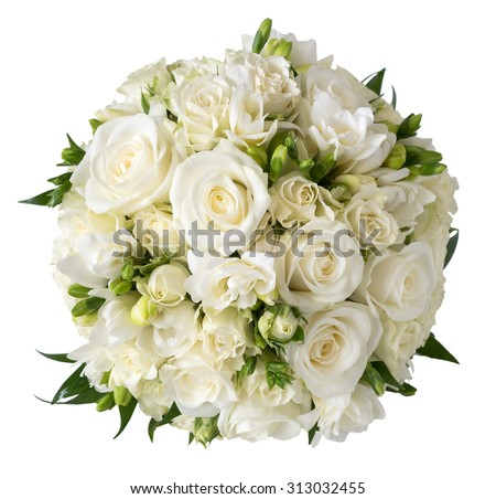 Bridal bouquet of white rose in bright colors with blue handle isolated on white - stock photo