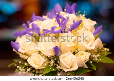 Bridal bouquet on soft background - stock photo