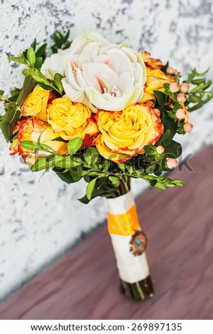 Bridal Bouquet on table - stock photo
