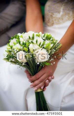 Bridal bouquet on wedding day - stock photo