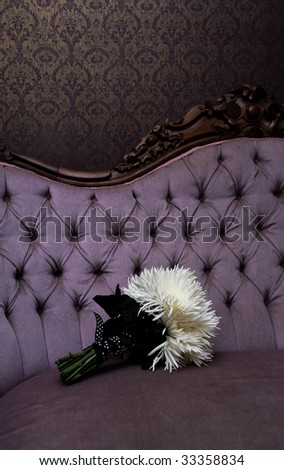 Bridal bouquet, photographed in the bridal suite. - stock photo