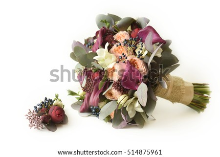 bridal bouquet, roses and calla lilies, isolated on white background.