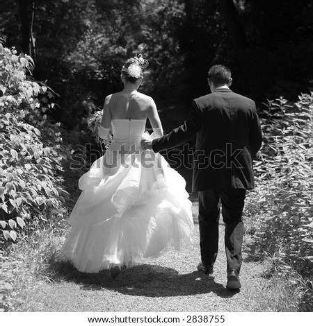 Bridal couple from behind in the nature. Very romantic. Monochrome and square-format. - stock photo