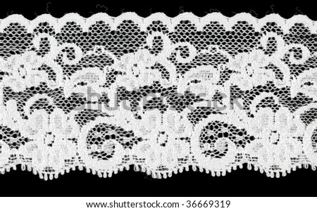 bridal floral white lace band isolated over black background - stock photo