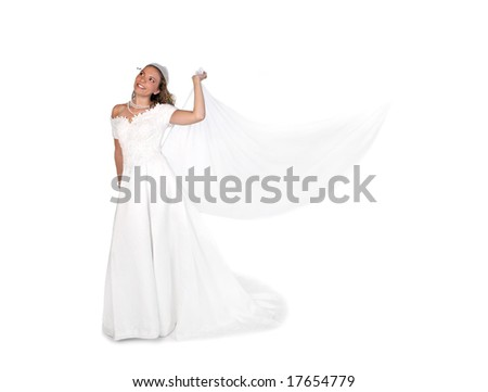Bridal Portrait of a Beautiful Woman Looking Up With Copyspace - stock photo
