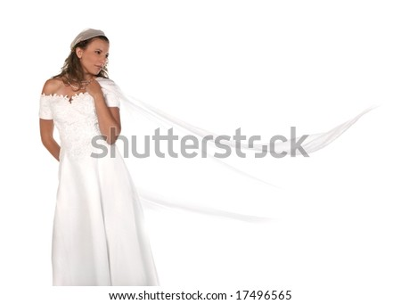 Bridal Portrait of a Beautiful Woman With Copyspace - stock photo