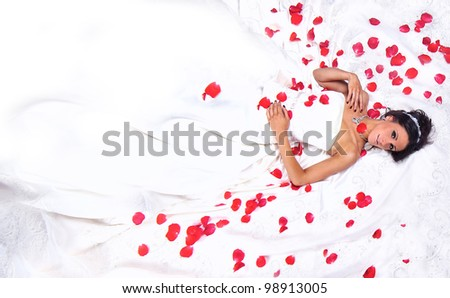 Bridal Portrait of a Young Woman Getting Married - stock photo