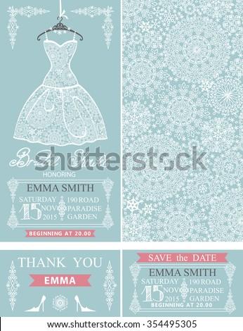 Bridal shower invitation set.Bridal wedding lace dress,snowflakes pattern,borders,frames,lettering title ,retro design.Winter season save the date,thank you card.Holiday  fashion illustration - stock photo