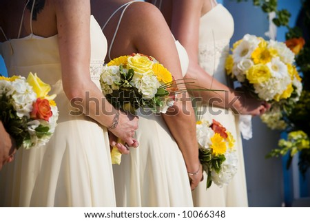 Bridal wedding flowers and brides bouquet - stock photo