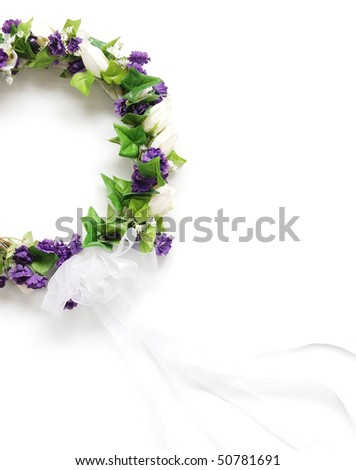 bridal wreath with ribbons