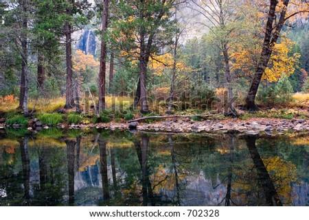 Bridalveil Falls at Yosemite National Park - stock photo