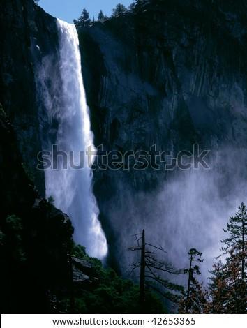 Bridalveil Falls Mist -Yosemite - stock photo