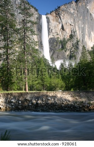 Bridaveil Falls and Merced River in Yosemite National Park