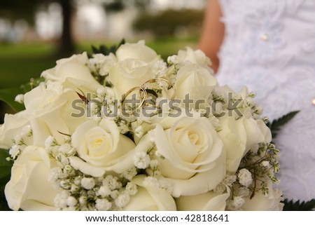 Bride and bouquet, closeup photo