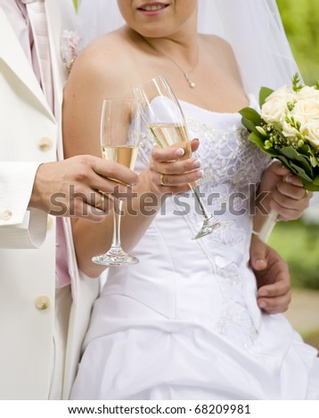 Bride and fiance clink glasses with glasses - stock photo