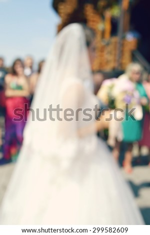 bride and groom,abstract blurred wedding background