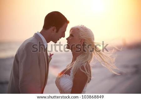Bride and Groom and Sunset - stock photo