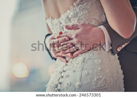 Bride and groom are embracing - stock photo