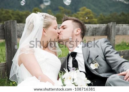 bride and groom couple celebrating their wedding - stock photo