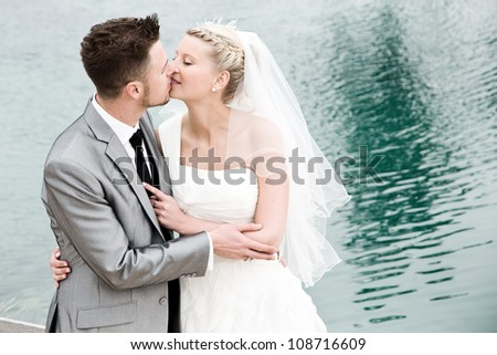 bride and groom couple celebrating their wedding - stock photo