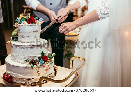 cut wedding cake groom cut rustic wedding cake stock photo edit now 13305