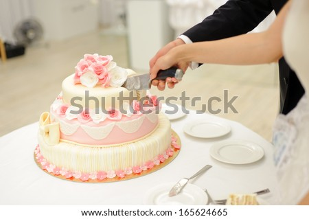bride and groom cutting elegant cake with roses - stock photo