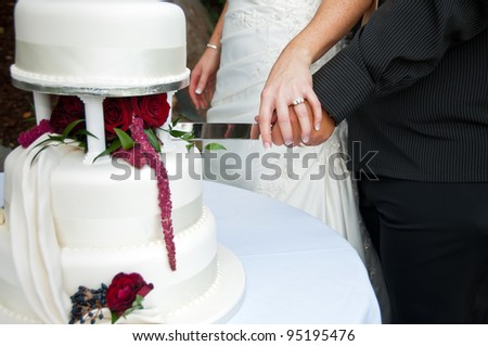 Bride and groom cutting wedding cake - stock photo